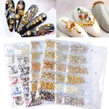 Mixed Size Glass Nail Rhinestones For Nails Art Decorations Crystals Strass Charms Partition Mixed-size Rhinestone Manicure Gem