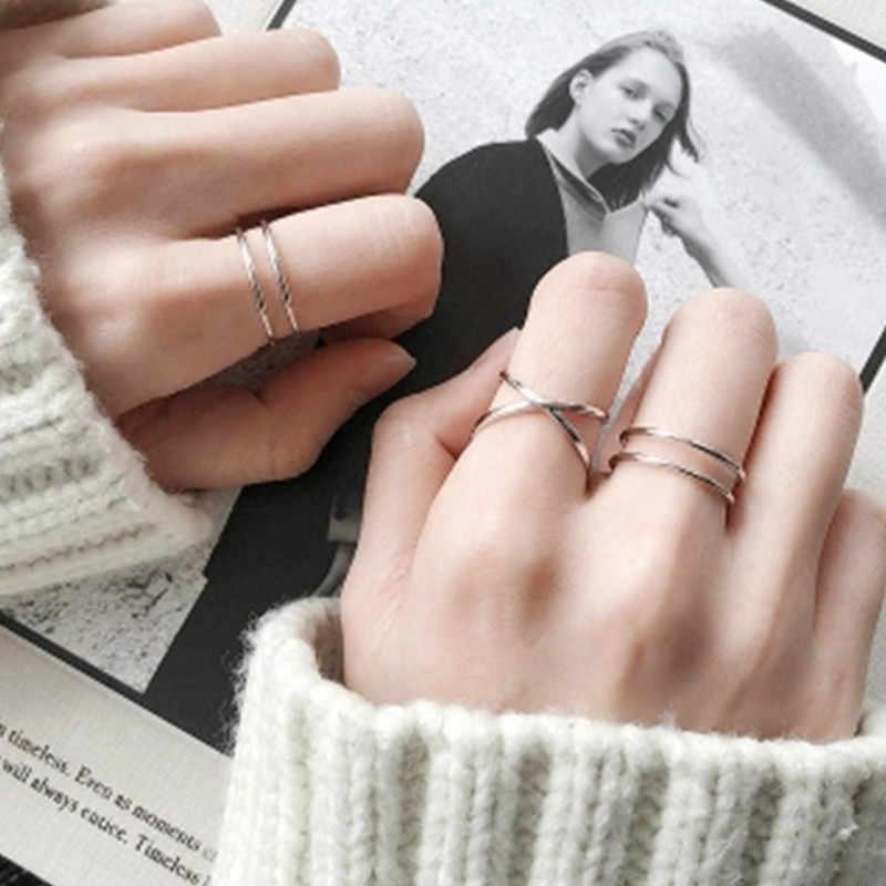 2019 ใหม่สุภาพสตรีแหวนสแตนเลสแหวนแฟชั่นออกแบบ Gorgeous Rose Gold แหวนยอดนิยมทอเรขาคณิตแหวนเครื่องประดับ