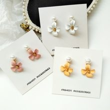 Fashion Sweet Girl Accessories Simple Aesthetic Colorful Flower Clip Earrings Korean Personality Female Imitation Pearl Jewelry(China)