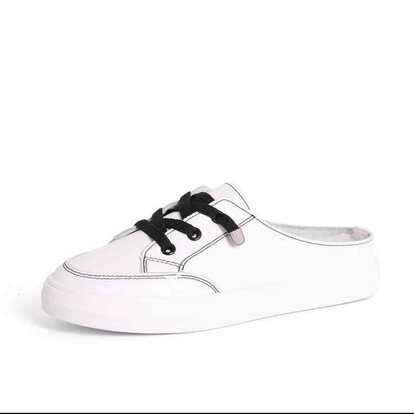 2020 yeni klasik ayakkabı kadın ayakkabısı yarım desteği tembel ayakkabı hiçbir topuk yarım terlik kadın öğrenciler tek ayakkabı