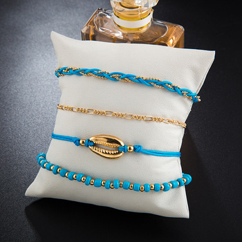 GUVIVI 2020 Gold Color Chain Bracelet on Leg Beach Ankle Jewelry Bohemian Pendant Anklets Beads Anklets for Women 4