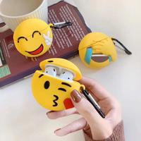 GOOYIYO - For Airpods 1 2 Emoji Cartoon Silicone Case Earphone Earbuds Charge Box Protective Cover Airpods Accessory Case With Gift Hook Ring