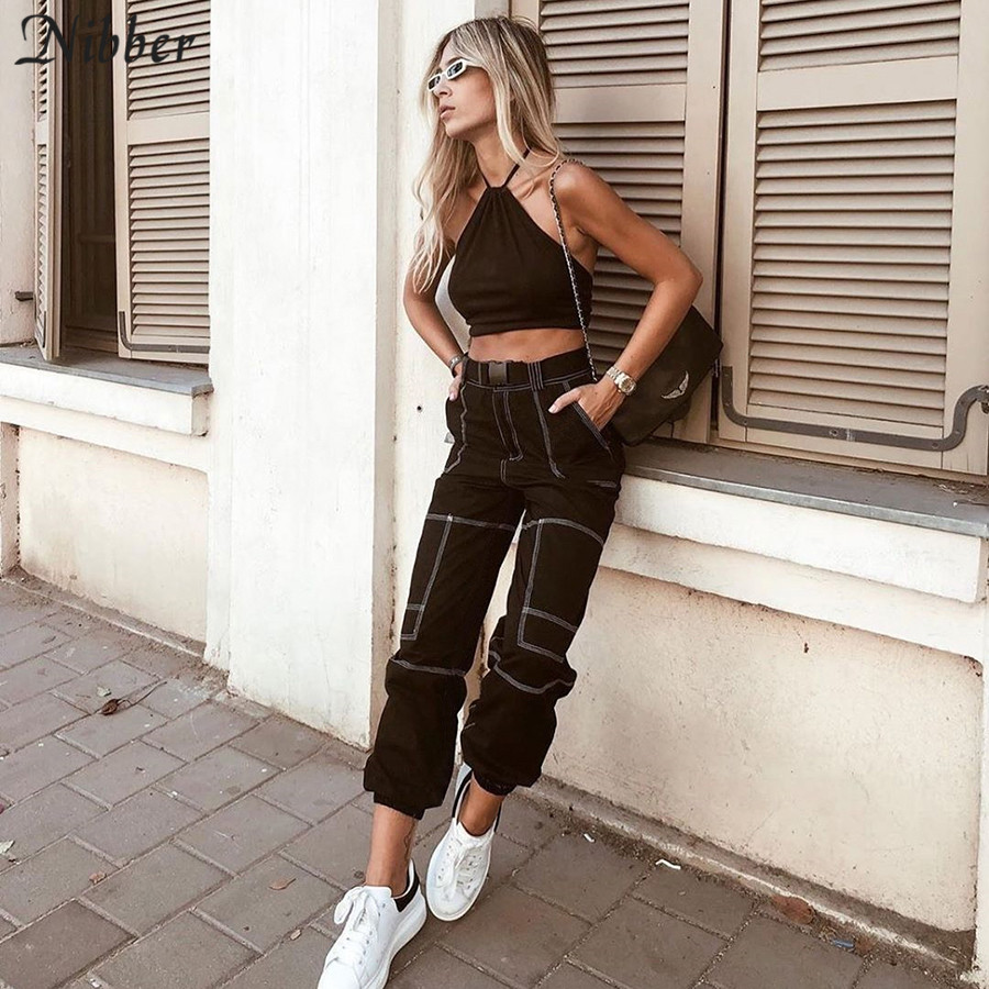 Nibber Autumn Retro Pure Leisure Loose Cargo Pants Women 2019fashion New Hip Hop Casual Harem Pants White Black Sweatpants Mujer