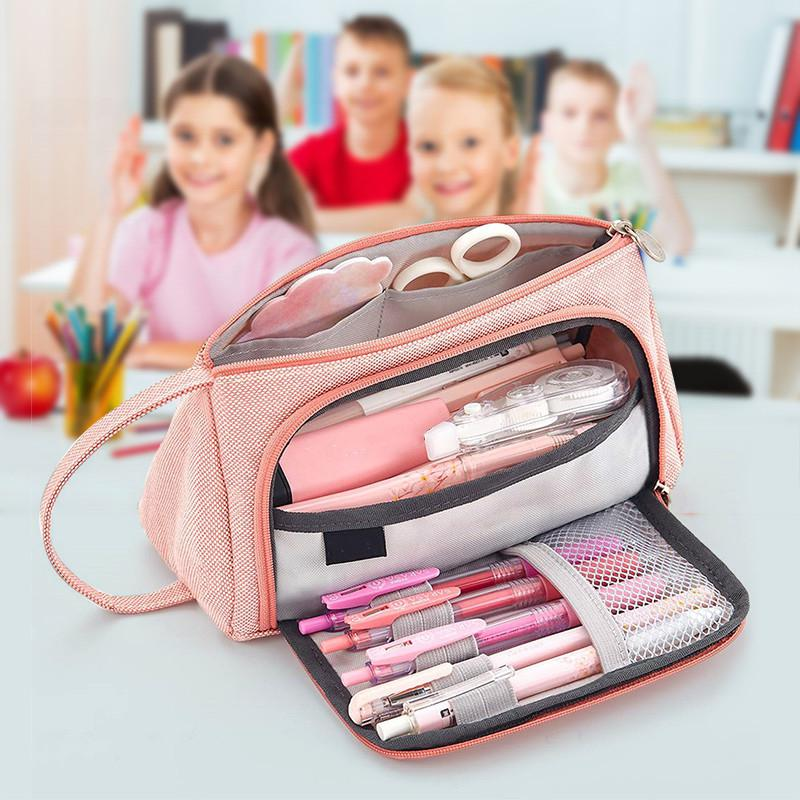 Big Capacity Canvas Storage Pouch Pen Pencil Case Stationery Bag Storage Bag Organizer Bag Holder For School Office 20x11x9cm