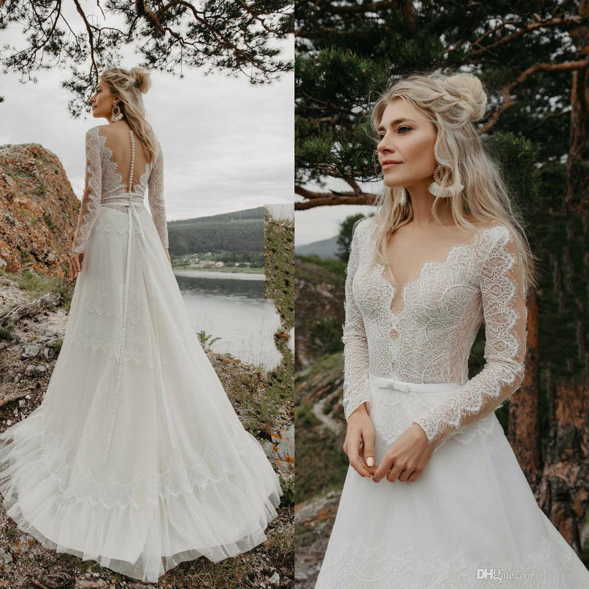 2020 Bohemian Wedding Dress Lace Appliqued Long Sleeve Sheer V Neck Bridal Gowns Plus Size Beach Boho Wedding Dresses