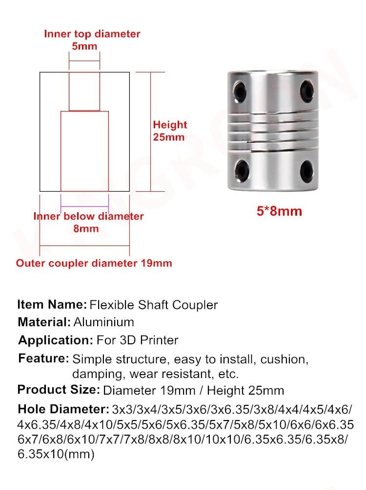 D19xL25 алюминиевая Гибкая соединительная муфта подвижной щеки дробилки 5 8 6,35 мм 7 мм 8 мм 10 мм CNC шаговые муфта мотора кодеры гравировальный станок