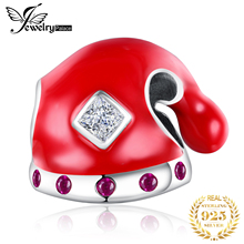 JewelryPalace Red Enamel Santa Claus hat Charm 925 Sterling Silver Fit Bracelets Bead For DIY Jewelry