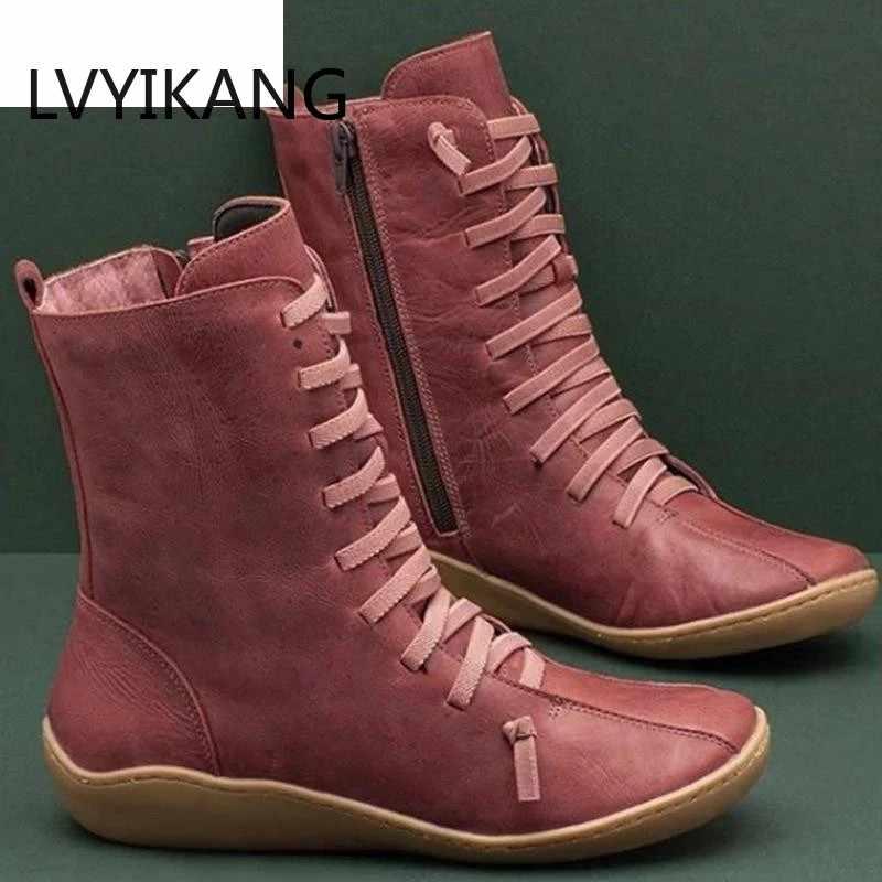 Kadın yarım çizmeler Sonbahar Kadın Derin Şekil Sivri Burun Zip Vintage moda ayakkabılar Bayanlar Platformu Mujer Daireler Topuklu iş çizmeleri