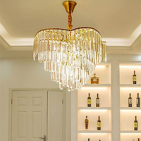 Modern luxury Crystal chandeliers Fixture Large Round Crystal Hanging Light Luminaire Drop Lamp for Living room dining room