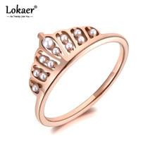Lokaer Titan Edelstahl Weiße Perle Crown Ring Trendy Rose Gold Jahrestag Hochzeit Ringe Schmuck Für Frauen Mädchen R19090