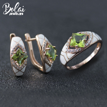 Bolai color change sultanit jewelry sets 925 sterling silver created diaspore enamel earrings ring gemstone jewelry for women's