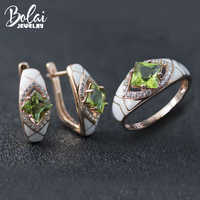 Bolai farbe ändern sultanit schmuck sets 925 sterling silber erstellt diaspore emaille ohrringe ring edelstein schmuck für frauen