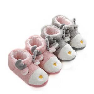 Image 1 - Suihyung zapatos de Invierno para mujer antideslizantes, suaves y Zapatillas de felpa, informales, sin cordones, con dibujos de animales, calzado plano de algodón cálido