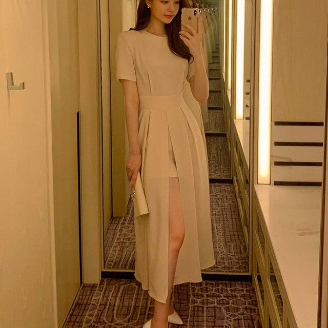 Women Elegant Vestidos 2021 Summer Korean Style Slim Elegant  Party Chic Casual Spilt Dresses 1