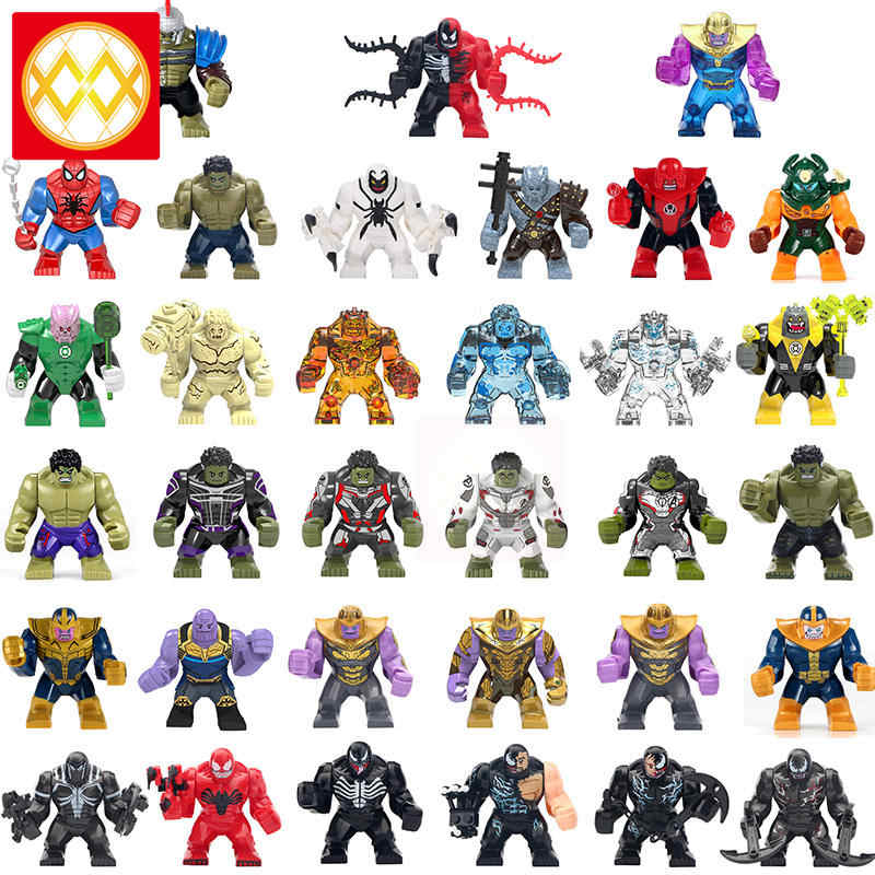 Single 7 CM Earth Water Fire Elementals Hulk Lantern Kilowog Anti-Venom Thanos Venom Carnage Spiderman Building Blocks Kids Toys