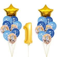 21 шт./лот, 40 дюймов, номер 1, фольгированные шарики, для детского душа, для первого дня рождения, для вечеринки, декоративные принадлежности для маленьких мальчиков, воздушные шарики для девочек, латексные гелиевые шары