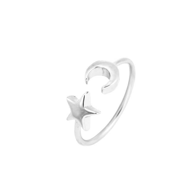 Jisensp แฟชั่น Punk Star Moon แหวน Crescent Moon เปิดแหวนนิ้วมือเครื่องประดับ Bijoux ง่าย Knuckle Ringen anel