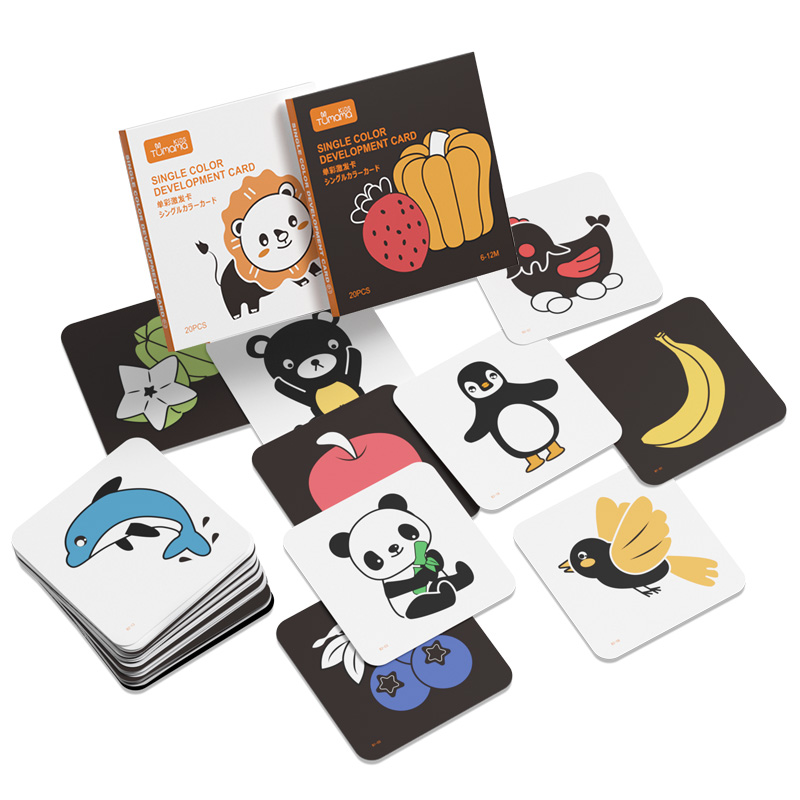 TUMAMA Visual Stimulation Cards With Animals Flashcards For 0-36 Months Black White Flash Cards Puzzles Babies Learning Card