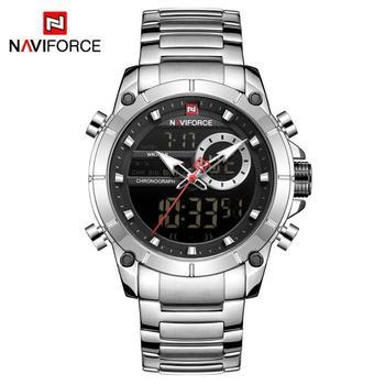 NAVIFORCE Men Military Sport Wrist Watch Gold Quartz Steel Waterproof Dual Display Male Clock Watches Relogio Masculino 9163 7