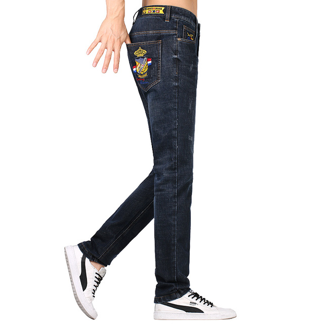 Men Jeans Casual Fashion Design Youth Trend Stretch Loose Jeans