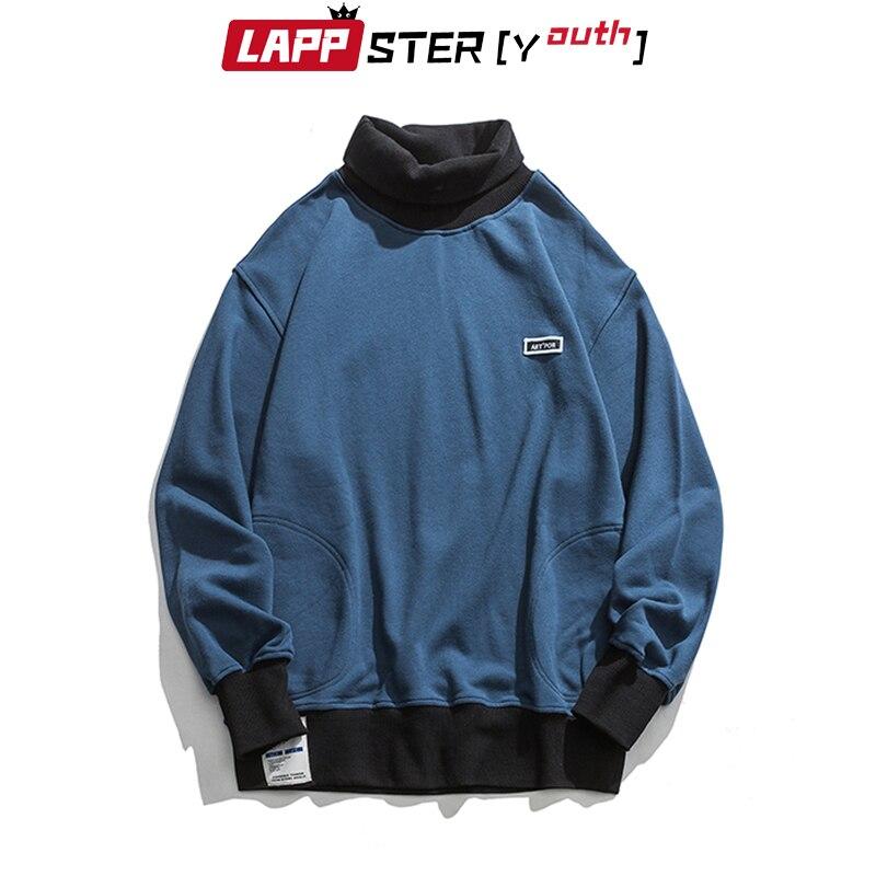 LAPPSTER-Youth Men Turtleneck Hoodies 2020 Mens Color Bock Streetwear Sweatshirts Male Korean Fashions Hip Hop Loose Hoodies 4
