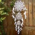 Один кусок ручной работы белый Ловец снов кружева перо Свадебные украшения подарок