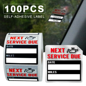 100pcs Oil Change Maintenance Service Reminder Stickers Window Sticker Adhesive Labels Car Sticker Exterior Accessories image