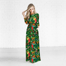 New Christmas Digital Printing Womens Long-sleeved Dress Fashion Long Floral Maxi