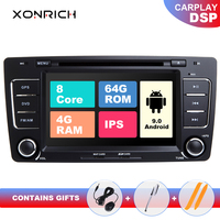 IPS DSP 4G 64G 8 Core 2 Din Android 9.0 Car Radio DVD Player For Skoda Octavia 2 3 A 5 A5 Yeti Multimedia GPS Navigation Stereo