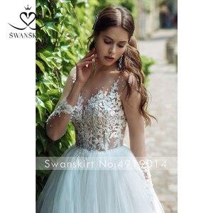 Image 4 - Wedding Dress Sweetheart Appliques A Line Long Sleeve Flowers Vestido de novia 2020 Illusion Princess Swanskirt GY25 Bridal Gown