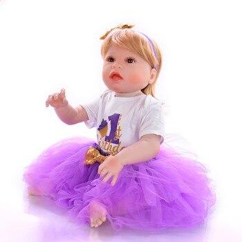 Lifelike 22- 23 Inch Reborn Baby Dolls Full Silicone Vinyl Body Babies Doll with bear doll Waterproof Girl Toys bebe Reborn
