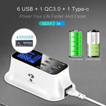 5V 2.4 A 8 Port USB Charger HUB Quick Charge 3.0 LED Display Multi USB Charging Station Mobile Phone Desktop Wall Home EU Plug