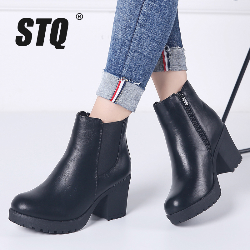 Genuine-Boots Winter Women Fashion Zip Ankle STQ for Chelsea New-Arrival 1902