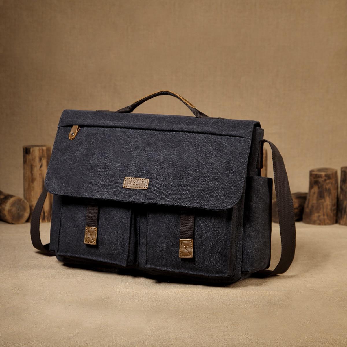 H9f656e831c5e488cb458de520bcfbdceL VASCHY Messenger Bag for Men Vintage Water Resistant Waxed Canvas 15.6 inch Laptop Briefcase Padded Shoulder Bag for Men Women