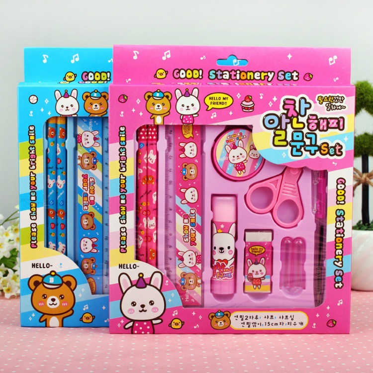 10PCS Kawaii Mini Notebook Ballpoint Pen Set Lovely Notepads Pens Creative Stationery Gift For Kids School Supplies