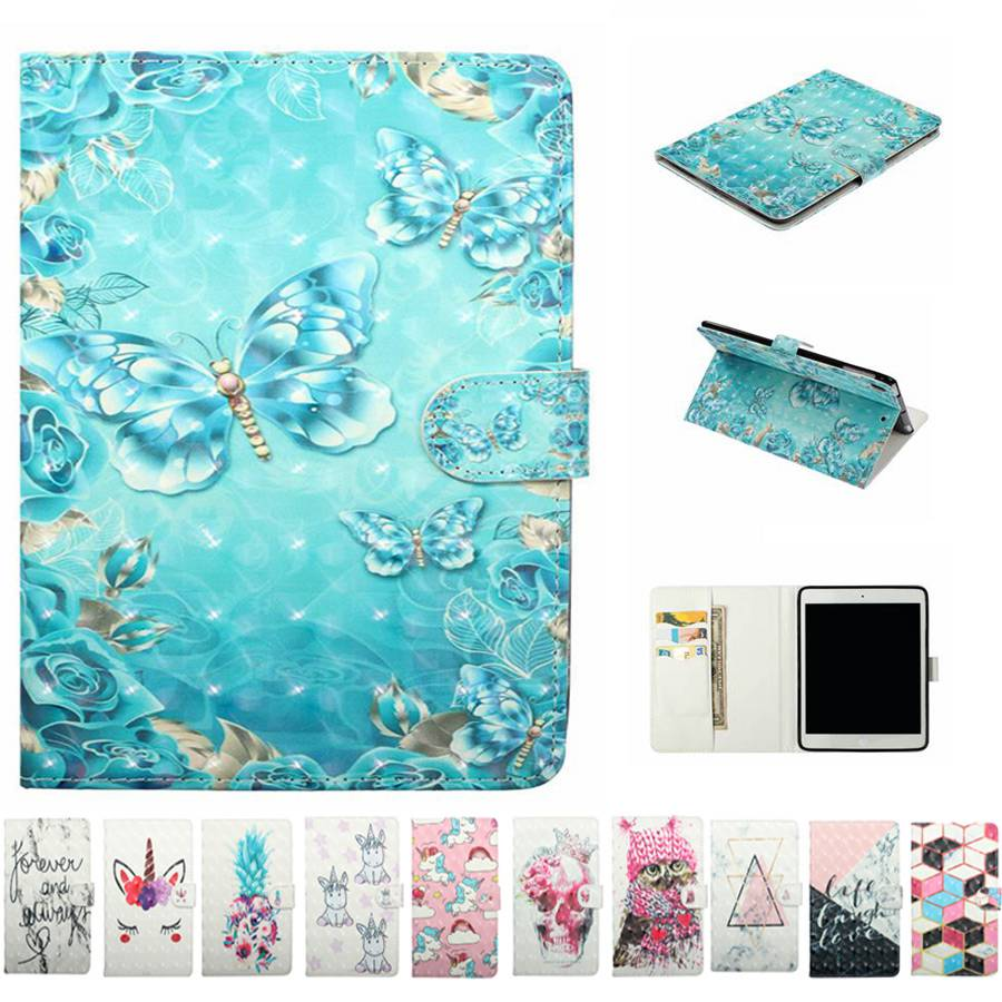 Blue Butterfly Painted PU Leather Funda Case For Samsung Galaxy Tab S2 9.7 T810 T815 Cover With Card Slots Tablet Case+Film+Pen