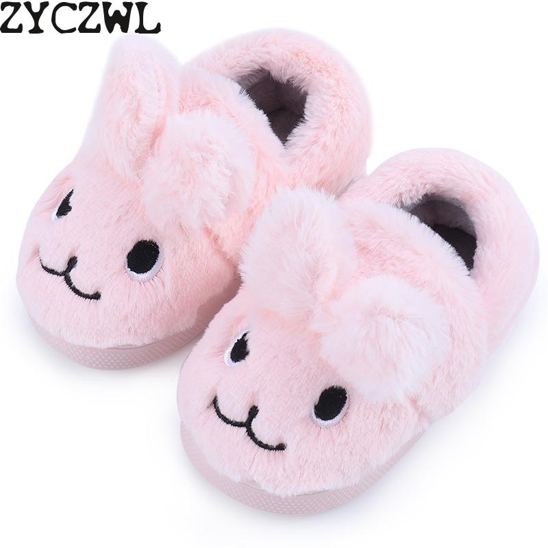 2019 Winter Male Female Baby Slippers Kids Home Plush Flip Flops Girl Cartoon Boy Slipper Indoor House Children Soft Flats Shoes|Slippers| |  - title=