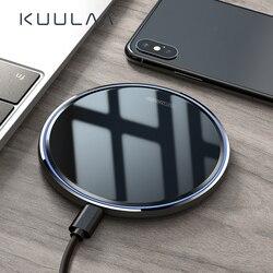 Kuulaa carregador sem fios qi 10 w, espelhado, para iphone x/xs, max, xr, 8, plus, plataforma de carregamento sem fio samsung s9 s10 + note 9 8