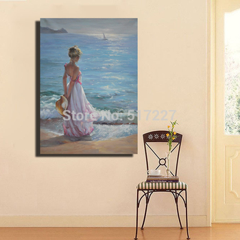 Free shipping 100%-hand-painted  Modern decor  Oil Painting on canvas for wall art Beautiful beach woman