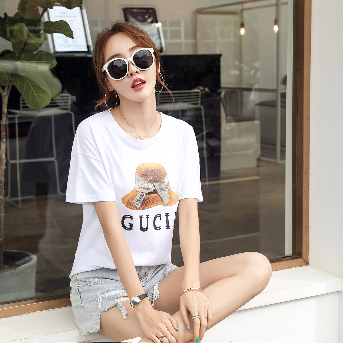 Women Casual Fashion O Neck T Shirt Harajuku Tide Brand Sexy Ladies Letters Print Cotton Short Sleeve Top Tee Korean Clothes|T-Shirts| - AliExpress