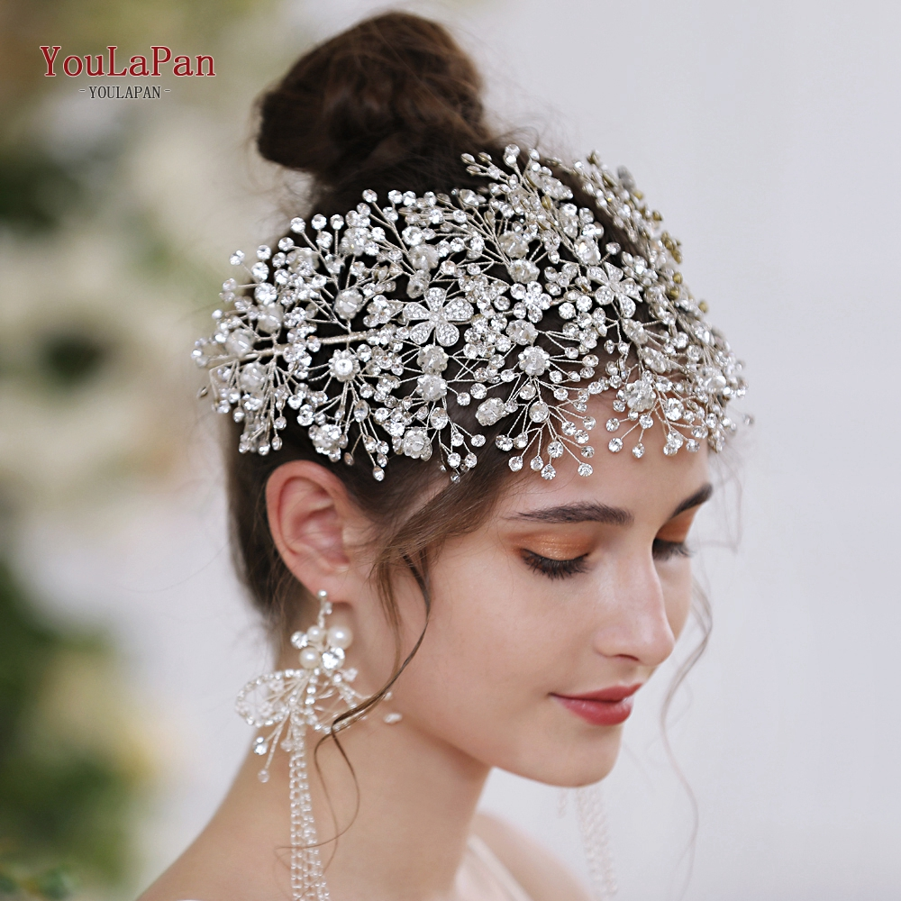 YouLaPan HP240-S Sliver Diamonds Bridal Crown Wedding Hair Accessories Bridal Crowns Bridal Hair Accessories For Women Headpiece