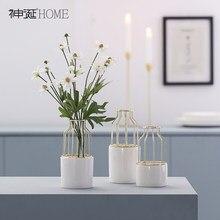 Metalowy wazon ceramiczny nordycki współczesny sztuka estetyczna minimalistyczna waza cylindryczna kompozycje kwiatowe Dekoracje Do Domu Home Decor DE50HP