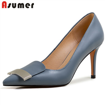 ASUMER 2020 8cm thin high heel party wedding shoes ladies genuine leather single shoes pointed toe spring summer women pumps