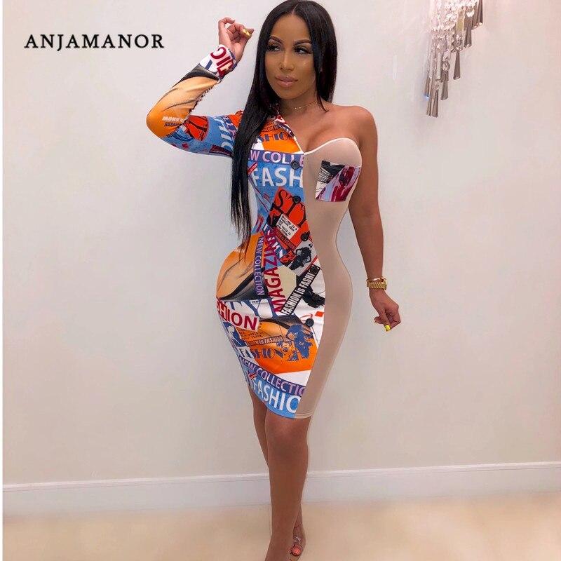 ANJAMANOR, Сексуальные клубные платья, женские вечерние платья, модные, с принтом, из прозрачной сетки, в стиле пэчворк, на одно плечо, с длинным р...