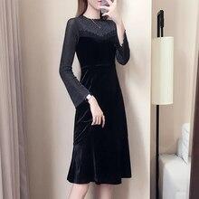 2019 Spring Autumn Plus Size Vintage Lace Dresses Women Elegant O-neck Bodycon Black Party Dress Long Sleeve Vestidos цены