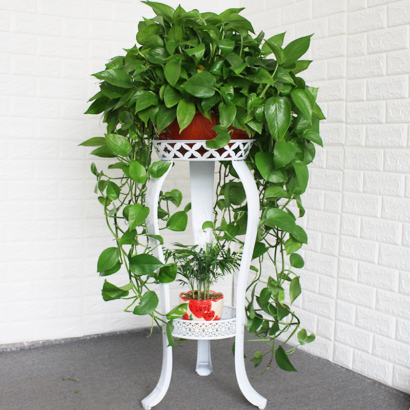 European Flower Stand Wrought Iron Multi-layer Floor-standing Green Flower Shelf Living Room Storage Balcony Meat Home Floor