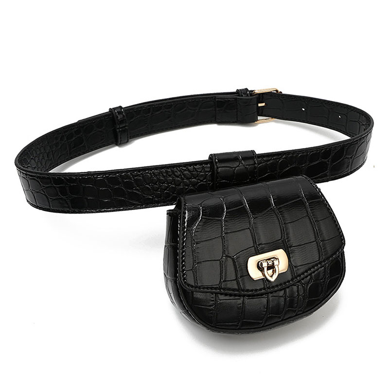 Fashion Leather Women's Waist Bags New Crocodile Pattern Lock Removable Solid Color Small Fanny Packs Casual Female Belt Bag