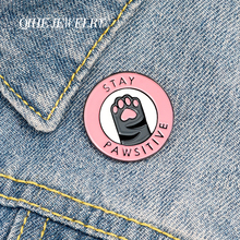 QIHE JEWELRY Cat Pink Paw Enamel Lapel Pins 'Stay Pawsitive' Brooches Badges Fashion Cute Pins Gifts for Friends Wholesale cute cat paw enamel lapel pins stay pawsitive brooches badges fashion cartoon backpack pin gift for friends wholesale jewelry
