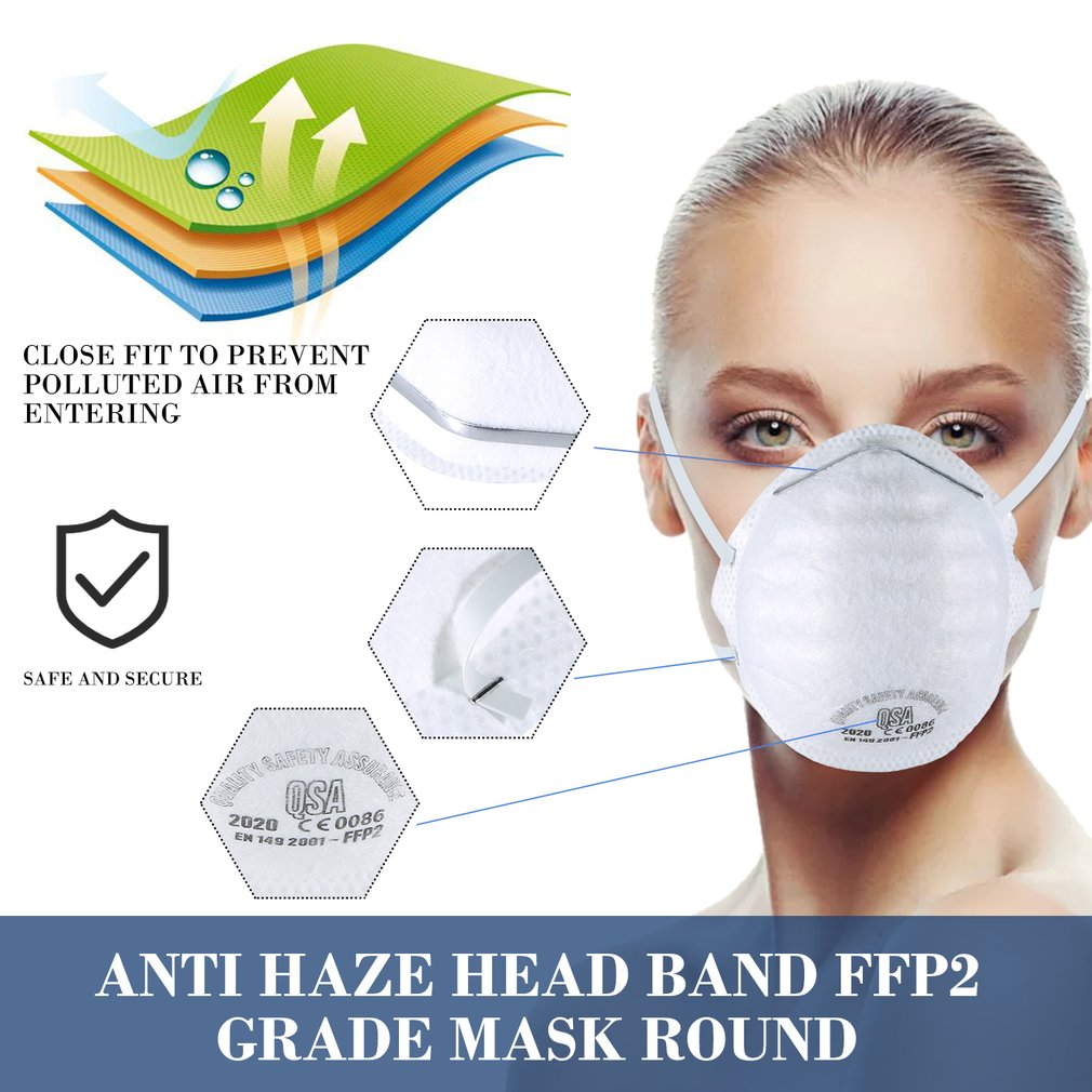 10pcs Anti-Fog Headband FFP2 Round Mask Dust Mask Anti Pm2.5 Anti Influenza Bicycle Ship On Time
