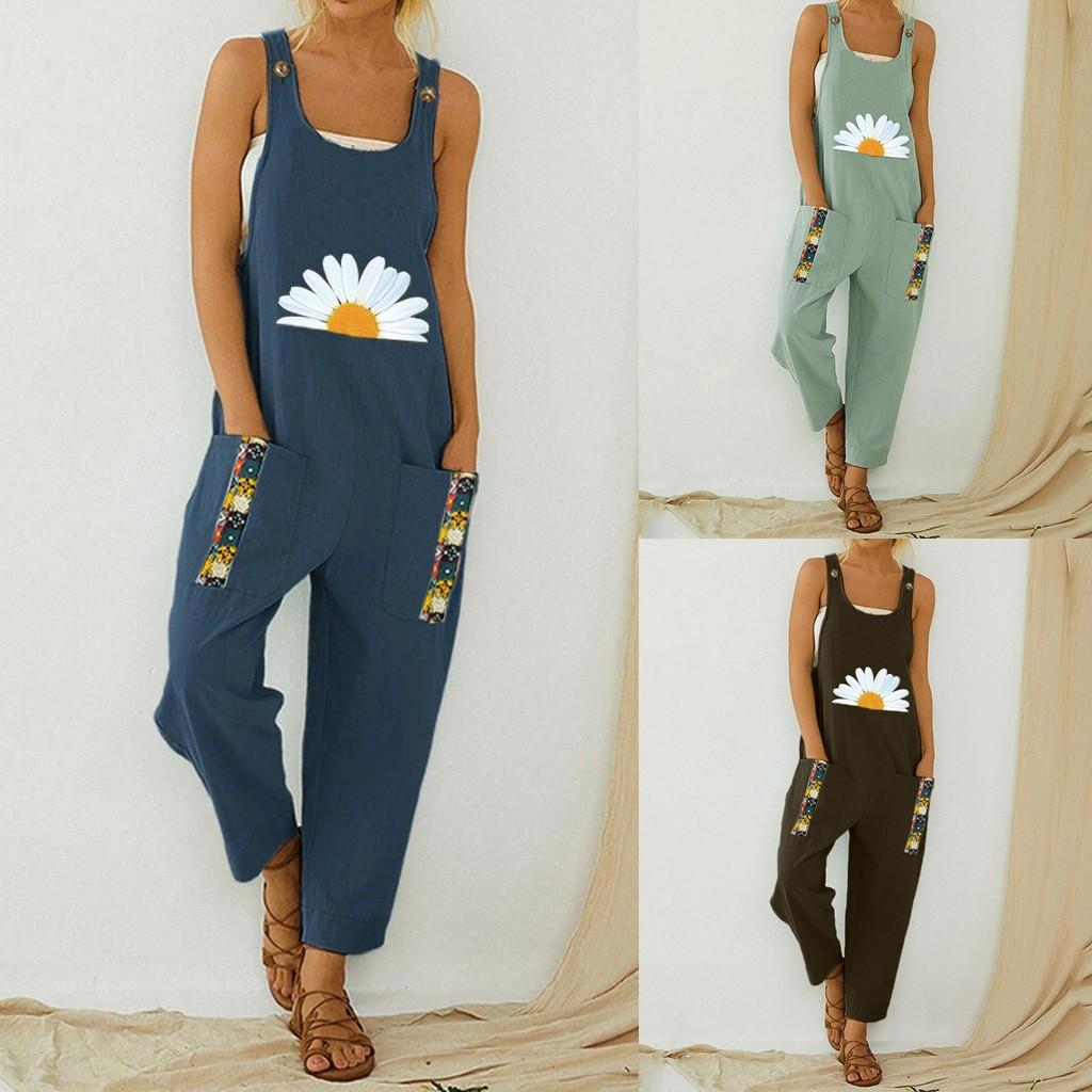 30H Women Floral Daisy Print Jump Suit Casual Boho Pocket Romper Long Playsuit Strap Button Jumpsuit Women Bodysuit Dropshipping